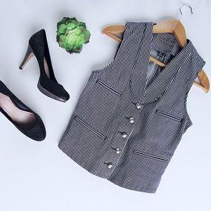 Black & White Striped Denim Ralph Lauren Vest Sz S